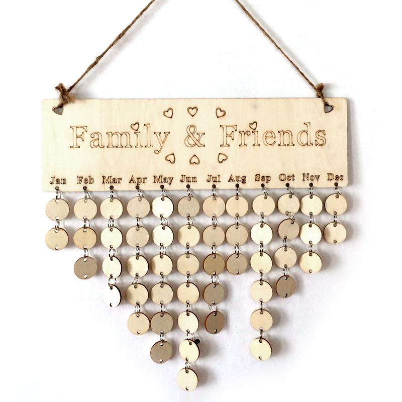 family birthday calendar sign ; diy-wooden-birthday-calendar-board-family