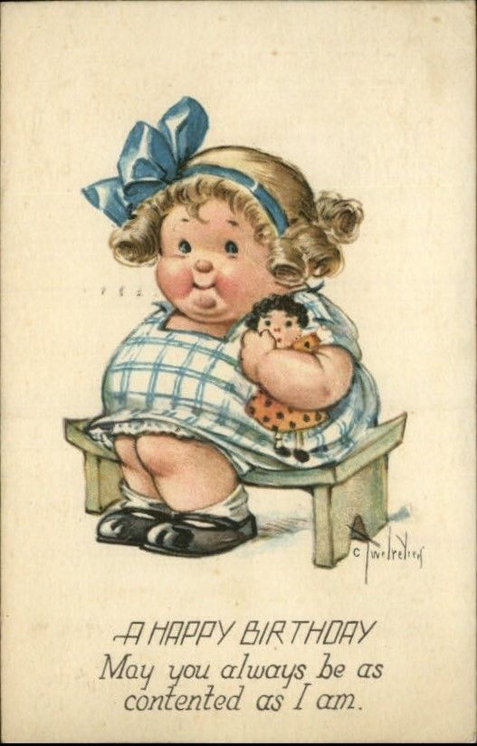 fat girl birthday card ; 5f0e971088a6347d57dcb2209c650289--vintage-cards-vintage-postcards