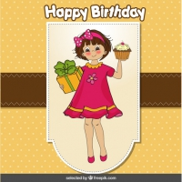 fat girl birthday card ; happy-birthday-card-with-a-girl-bringing-a-cupcake-and-present-66040