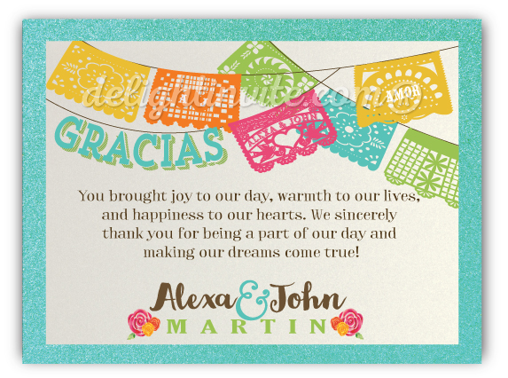 fiesta birthday card ; papel_picado_fiesta_wedding_thank_you_cards