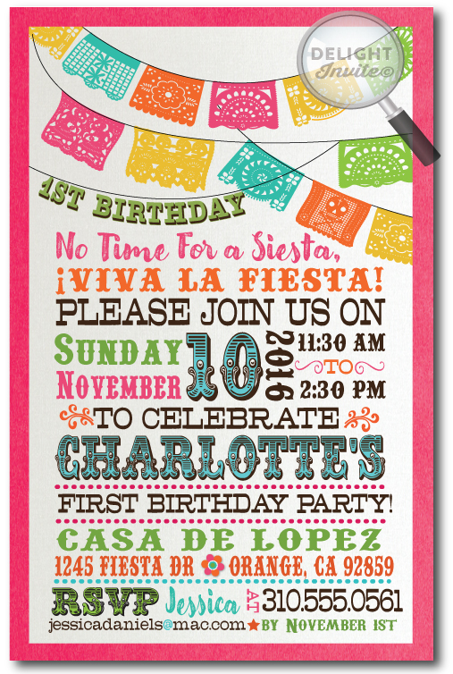 fiesta birthday card ; paper_flags_fiesta_1st_birthday_invitations