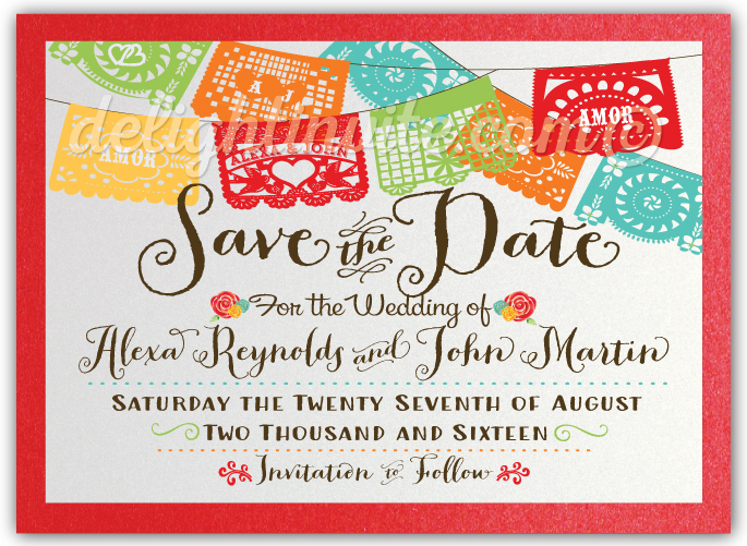 fiesta birthday card ; vintage_papel_picado_fiesta_wedding_save_the_date_cards