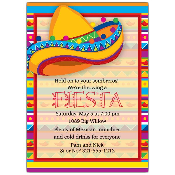 fiesta birthday party invitation wording ; 643-57-783-z