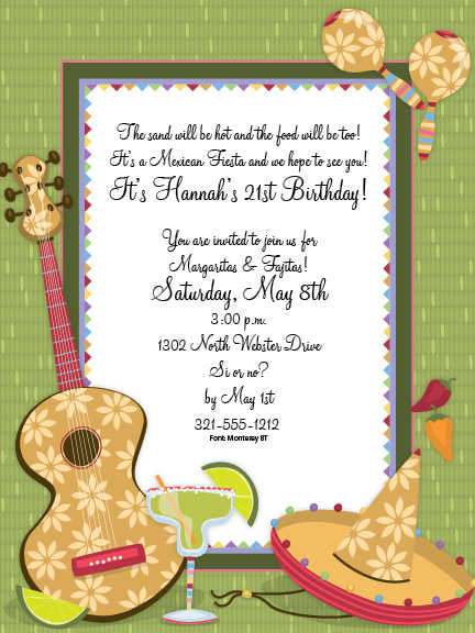 fiesta birthday party invitation wording ; margarita-fiesta-cinco-de-mayo