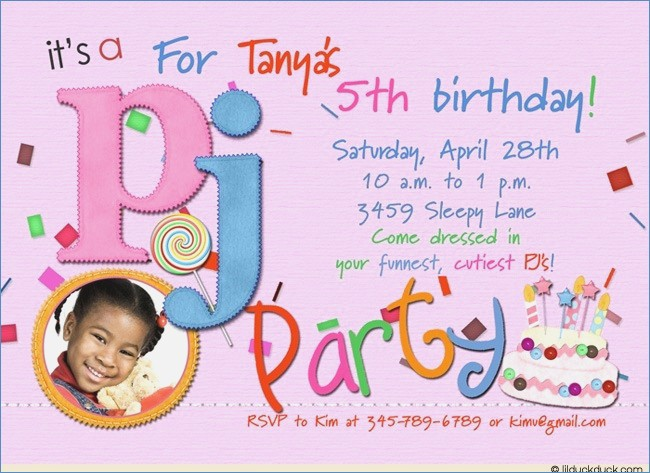 Fifth Birthday Invitation Wording 5th For A