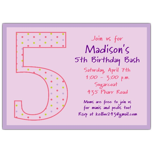 fifth birthday invitation wording ; 5th-birthday-invitation-wording-for-girl-5th-birthday-girl-dots-birthday-invitations-paperstyle