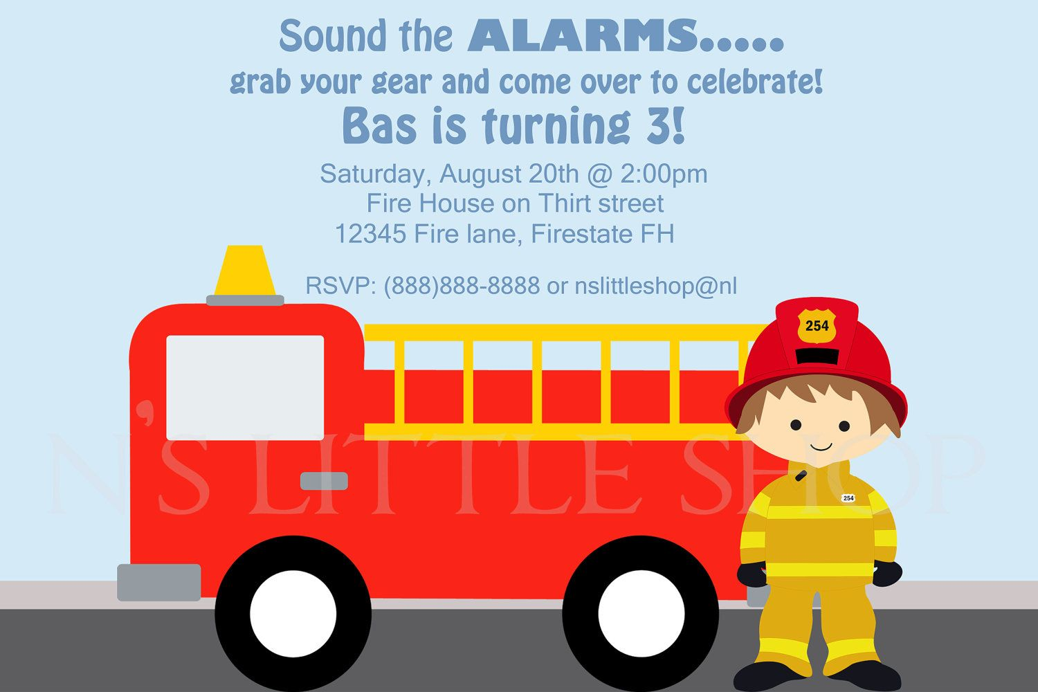 firefighter birthday invitation template ; 0a6b786bd81b1601a0692e023c148ce8
