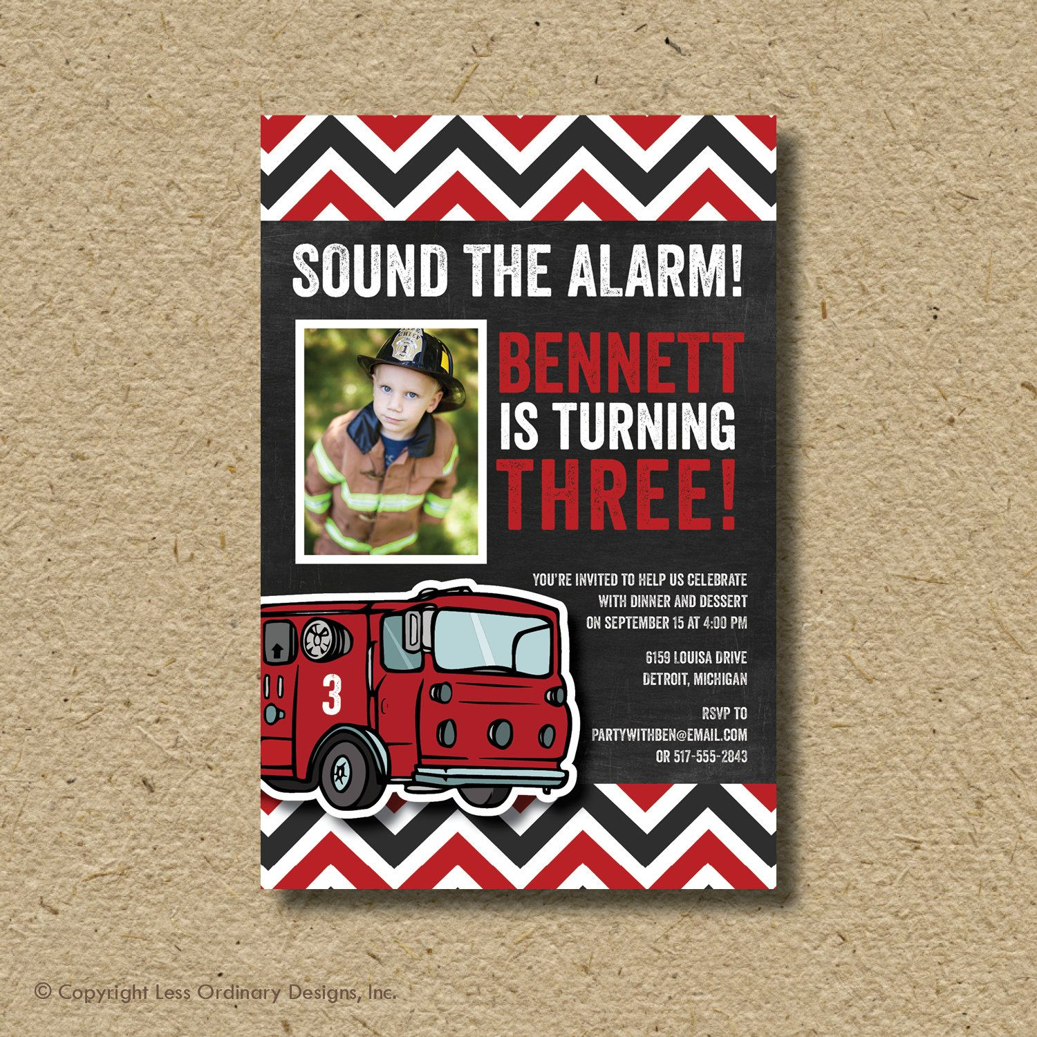 firefighter birthday invitation template ; 8d77066809b8391e8a386c92bd434519
