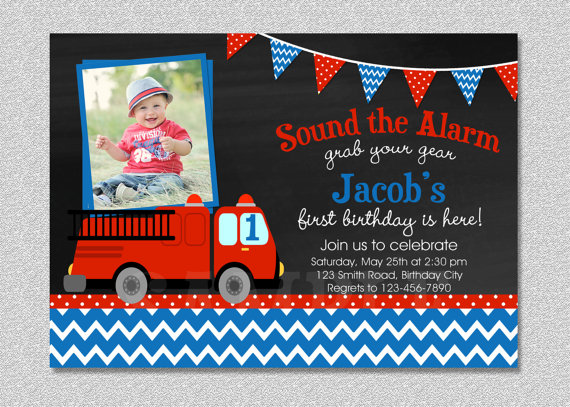 firefighter birthday invitation template ; il_570xN