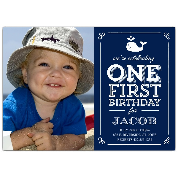 first birthday invitation message for baby boy ; Whale-Blue-First-Birthday-Photo-Invitations-p-638-75-123-z