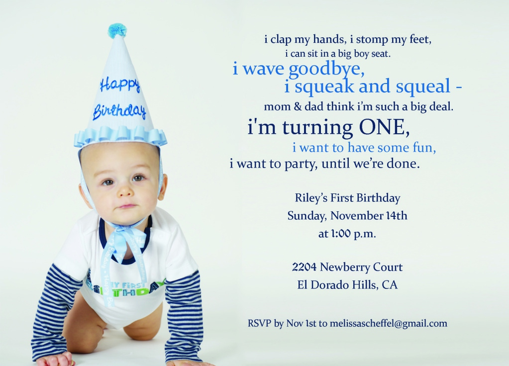 First Birthday Invitation Message For Baby Boy Invitations Wording