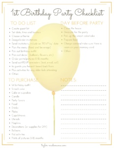 first birthday party checklist printable ; Birthday-Party-Planning-Checklist-232x300
