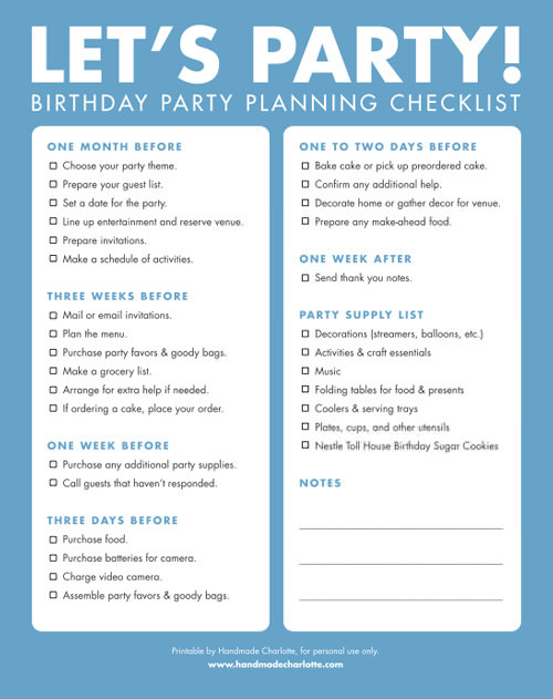 first birthday party checklist printable ; party-checklist