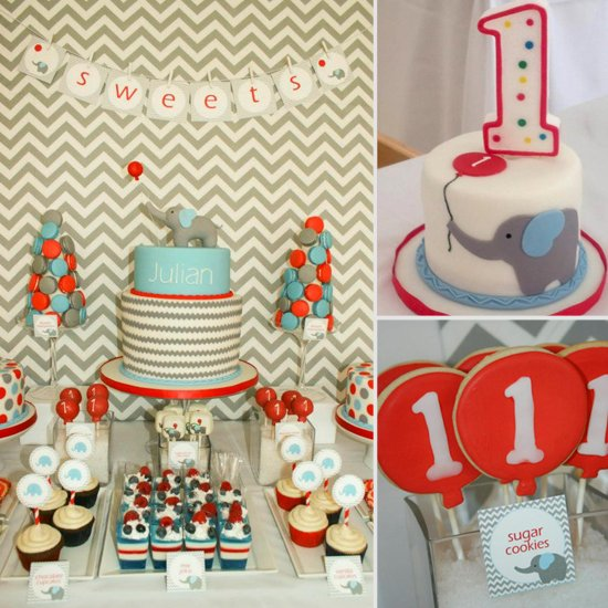 first birthday party themes ; Modern-Chevron-Elephant-Balloon-First-Birthday-Party