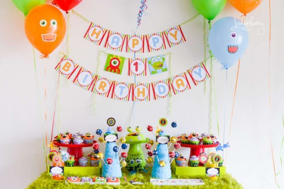 first birthday party themes ; Monster-party-580x387