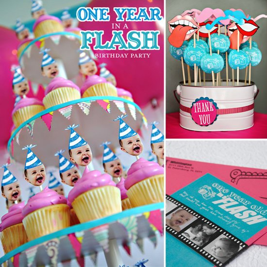 first birthday party themes ; One-Year-Flash