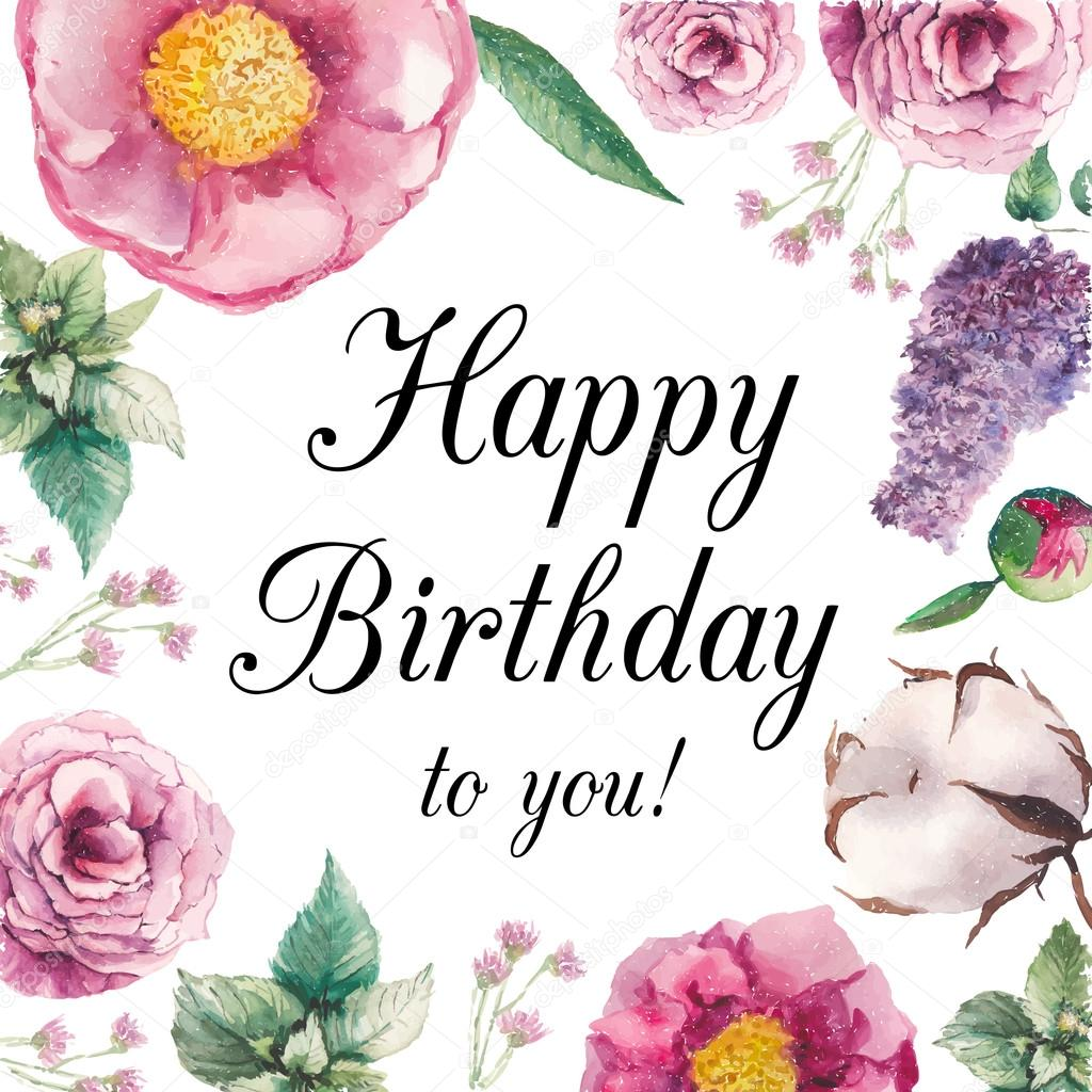 floral happy birthday images ; depositphotos_77449616-stock-illustration-watercolor-floral-happy-birthday-card