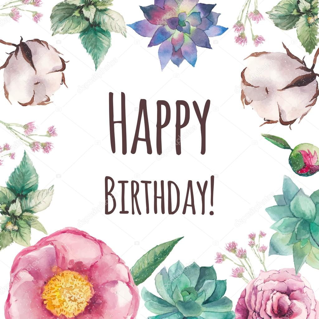 floral happy birthday images ; depositphotos_77449618-stock-illustration-watercolor-floral-happy-birthday-card