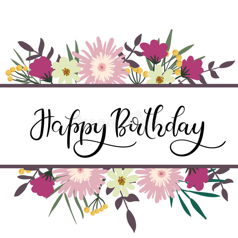 floral happy birthday images ; happy-birthday-hand-lettering-greeting-card-floral-frame-modern-calligraphy-vector-illustration-bouquet-86264430