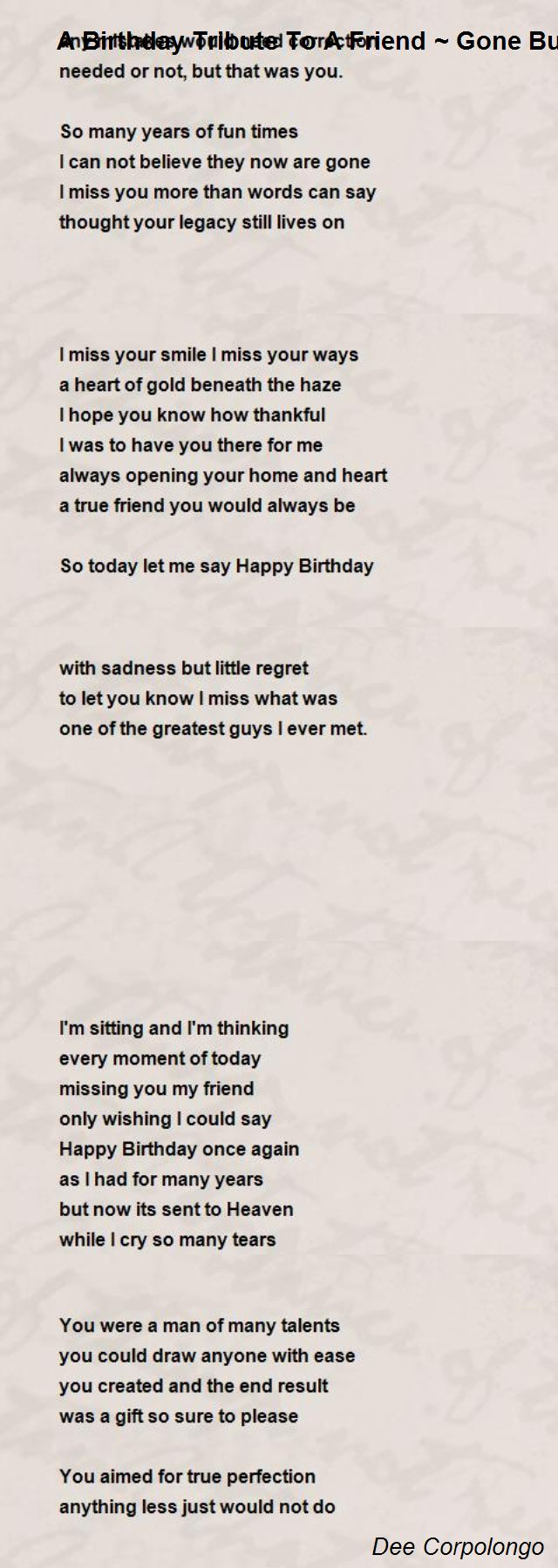 forgotten birthday poem ; a-birthday-tribute-to-a-friend-gone-but-never-forgotten
