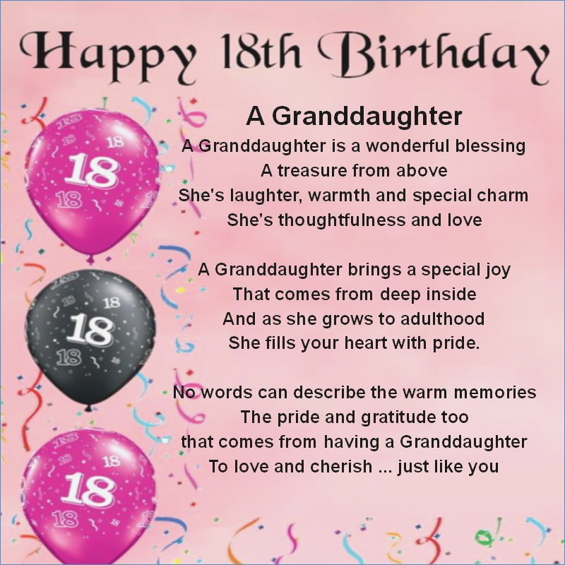 free 18th birthday cards ; personalised-coaster-granddaughter-poem-18th-birthday-free-of-verses-for-18th-birthday-cards