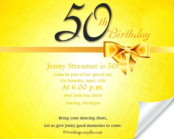 Free 50th Birthday Invitation Wording Samples Amusing 50Th