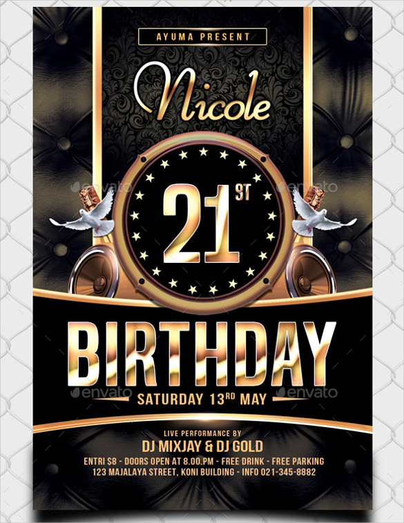 free birthday flyer template photoshop ; Disco-Birthday-Flyer-Template