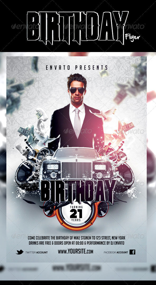free birthday flyer template photoshop ; Elegant-Birthday-Flyer