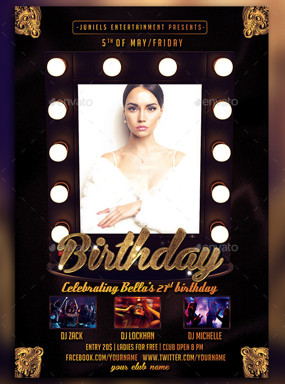 free birthday flyer template photoshop ; Ladies-Birthday-Flyer-Template