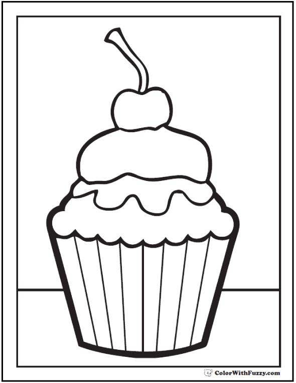 free printable birthday cupcake coloring pages ; cupcake-cherry-topping-printable