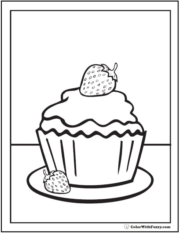 free printable birthday cupcake coloring pages ; strawberry-cupcake-coloring-pages