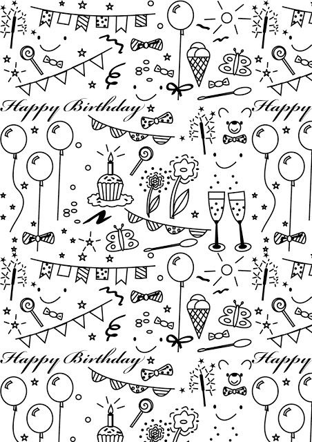 free printable birthday wrapping paper ; free-printable-birthday-coloring-paper-ausdruckbares-for-printable-birthday-wrapping-paper-black-and-white