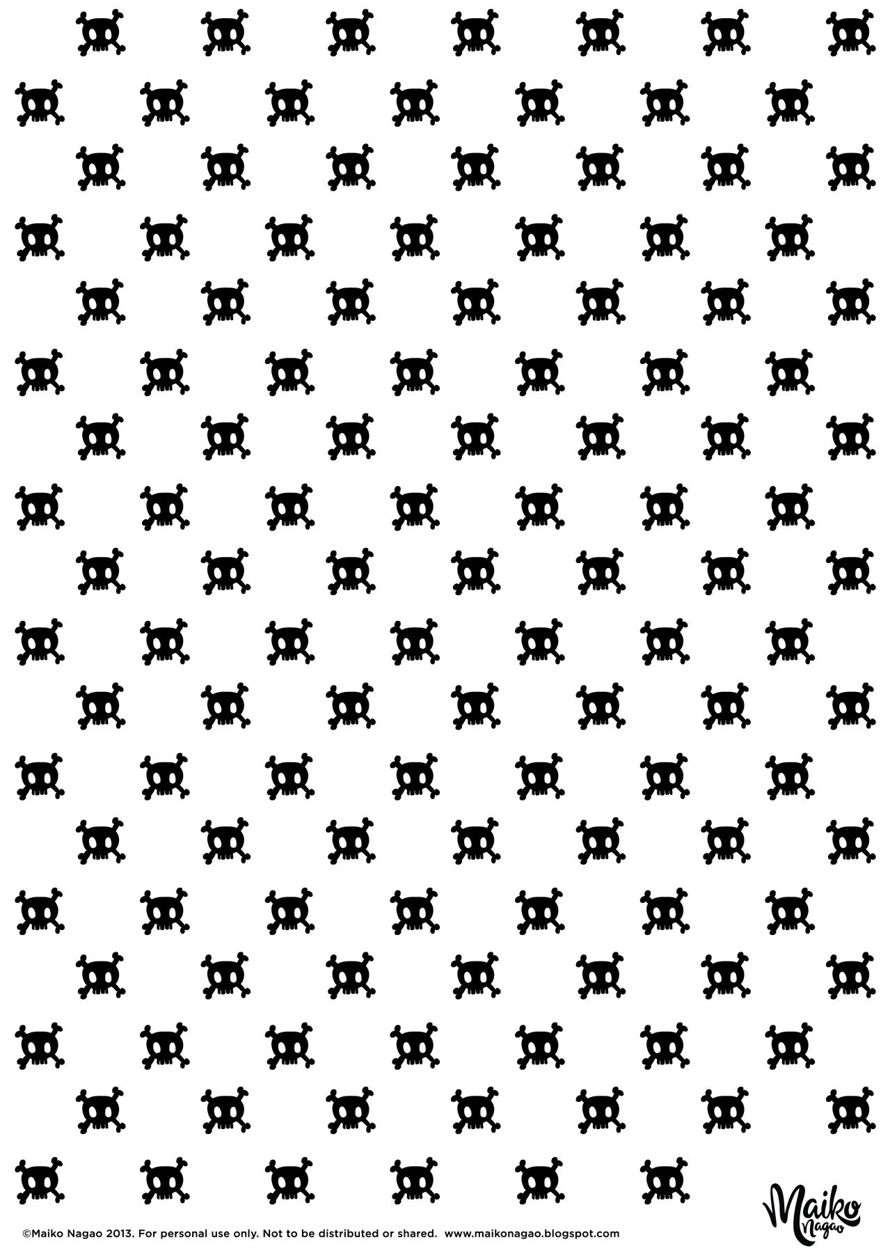 free printable birthday wrapping paper ; printable-gift-wrapping-paper-skull-maiko-nagao