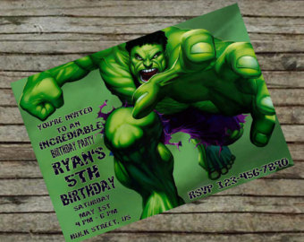 Free Printable Hulk Birthday Invitations Vintage