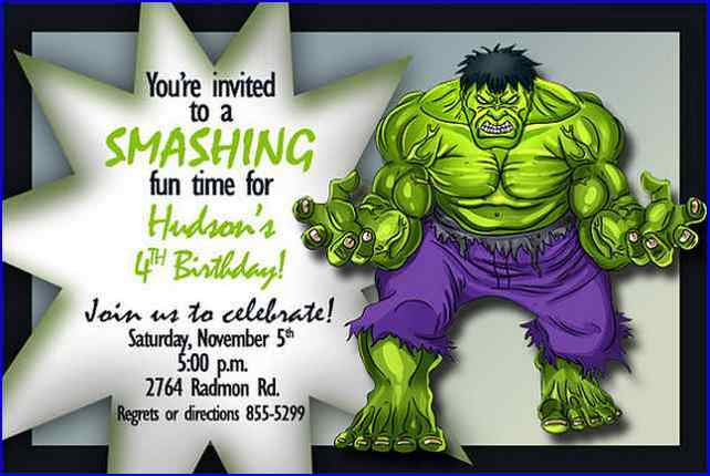 Free Printable Hulk Birthday Invitations Incredible