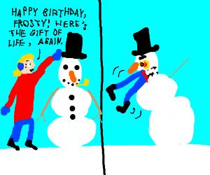 frosty the snowman saying happy birthday ; 9HLZZgy38w-3