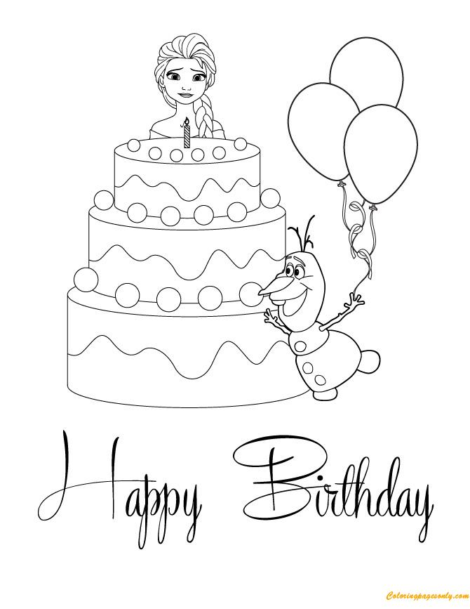 frozen happy birthday coloring pages ; elsa-and-olaf-with-cake-happy-birthday00