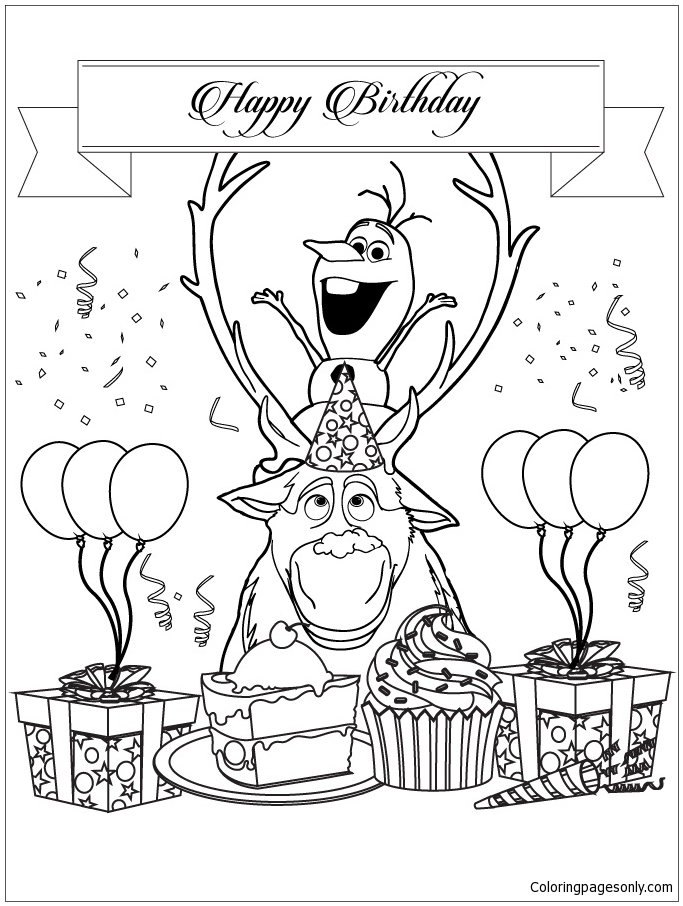 frozen happy birthday coloring pages ; frozen-characters-olaf-and-sven-happy-birthday00