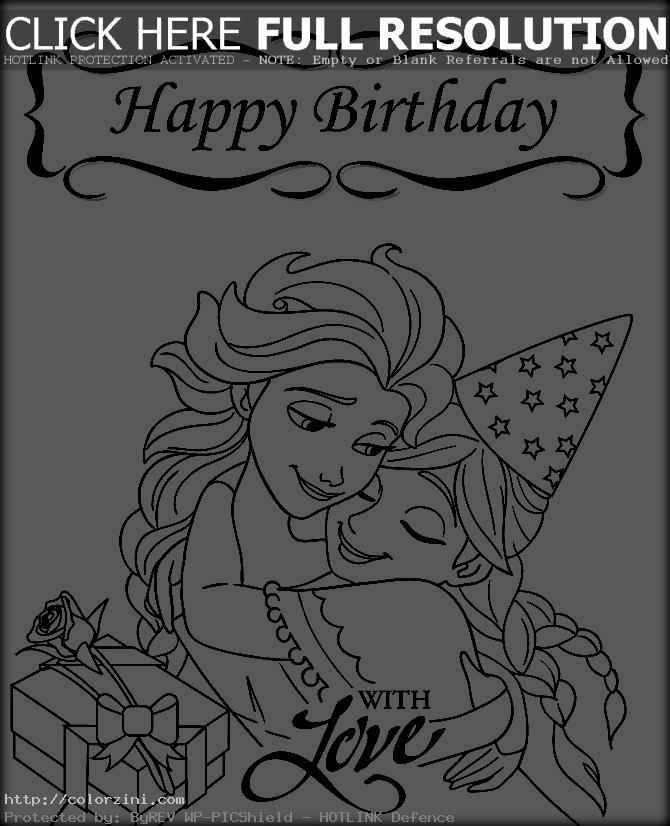 frozen happy birthday coloring pages ; frozen-happy-birthday-with-love-coloring-page