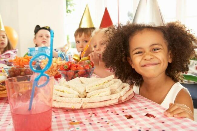 fun at home birthday party ideas ; Kids-in-party-hats-1-650x433