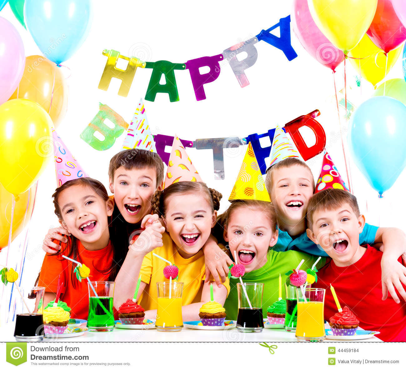 fun kids birthday parties ; group-laughing-kids-having-fun-birthday-party-isolated-white-44459184