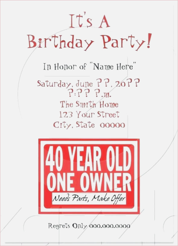 Funny 40th Birthday Party Invitation Wording Catchy Invites