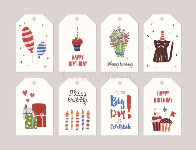 funny birthday tags ; collection-birthday-labels-tags-bouquet-flowers-cupcake-burning-candle-gifts-balloons-funny-cartoon-cat-wearing-party-107871281