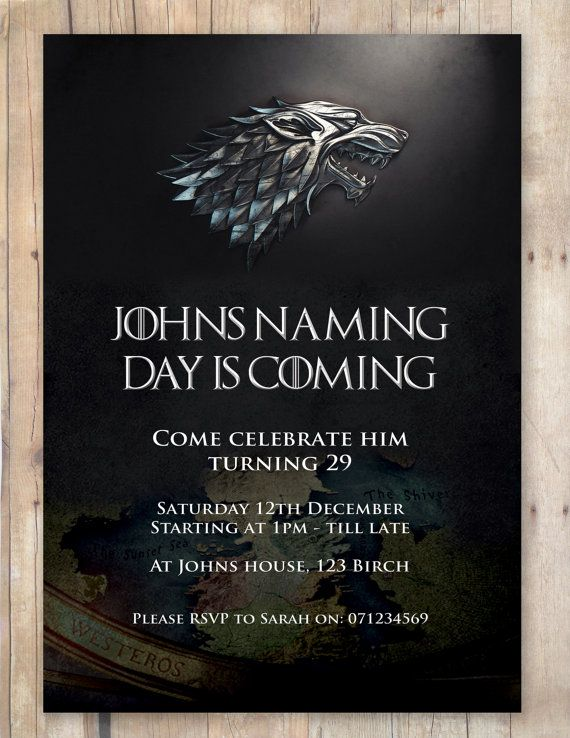 game of thrones birthday invitation ; 5cafb9075ab5c9540eed0f139e1e128c