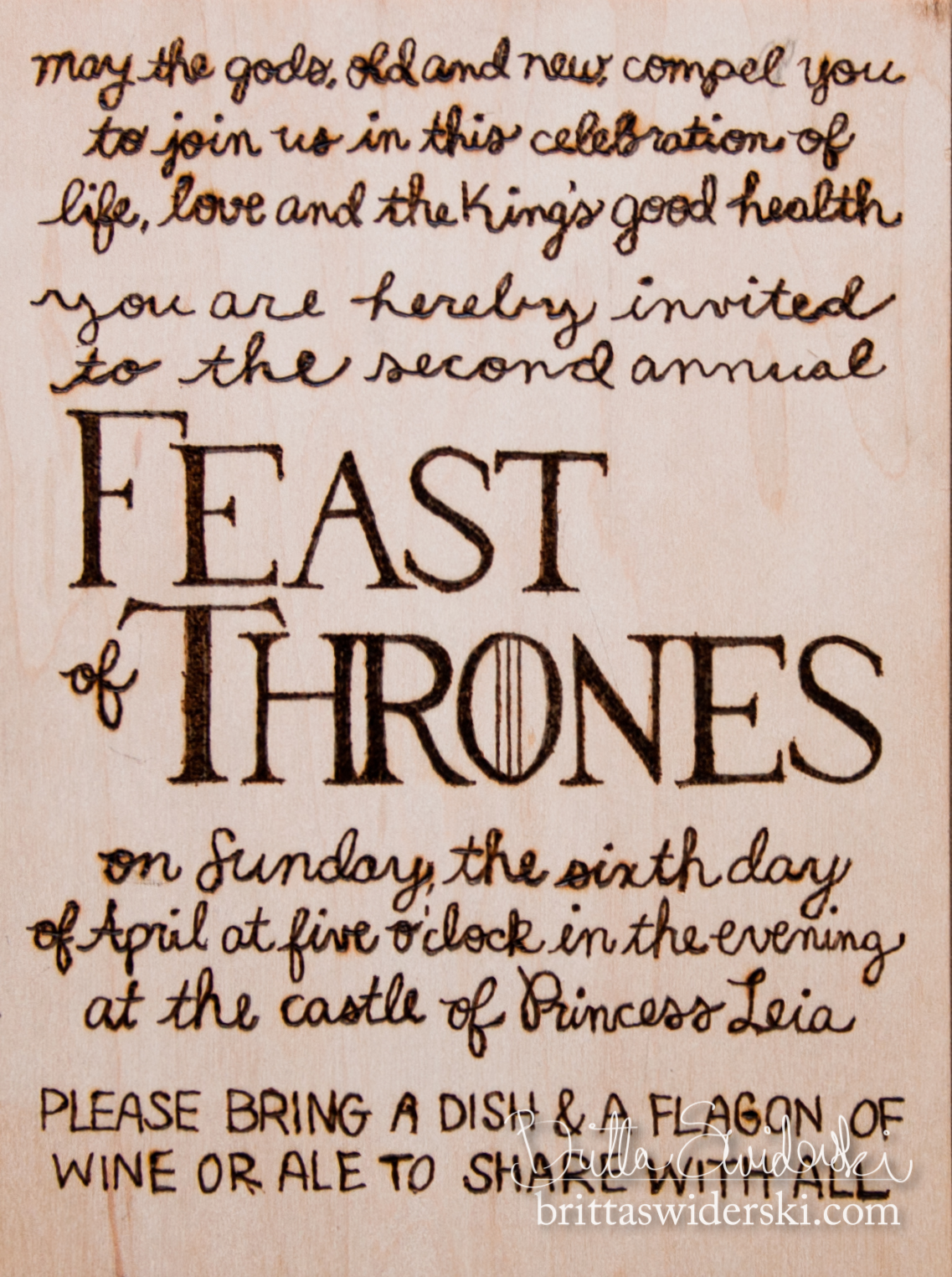 game of thrones birthday invitation ; feast-of-thrones-invite-woodburning-invitation-by-britta-swiderski_today-is-a-very-special-holiday-on-games-of-thrones-birthday