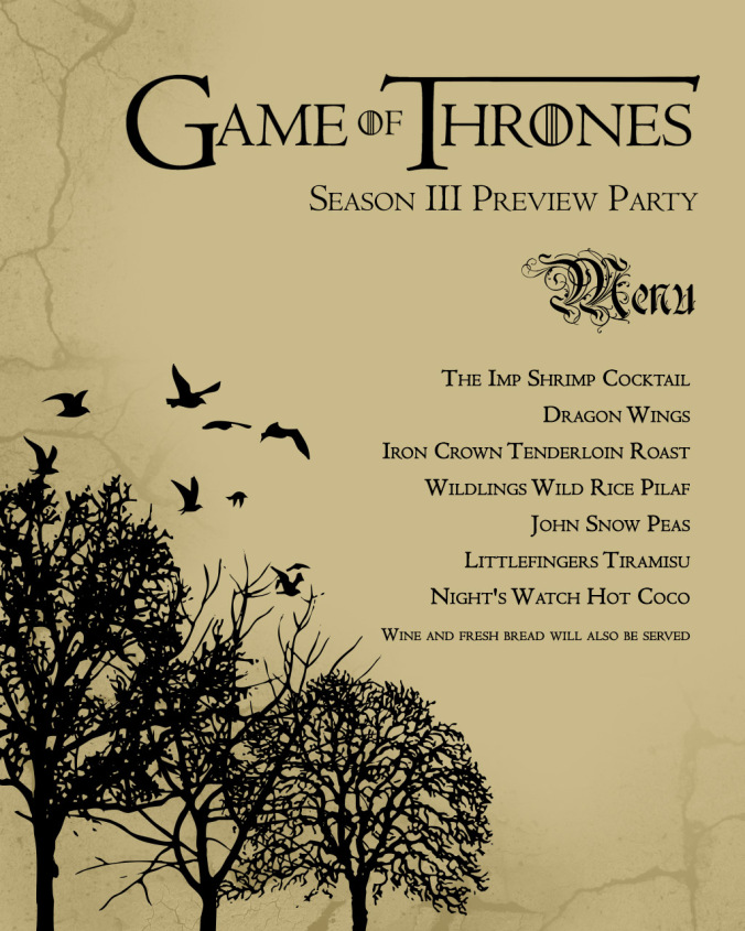 game of thrones birthday invitation ; game-of-thrones-menu