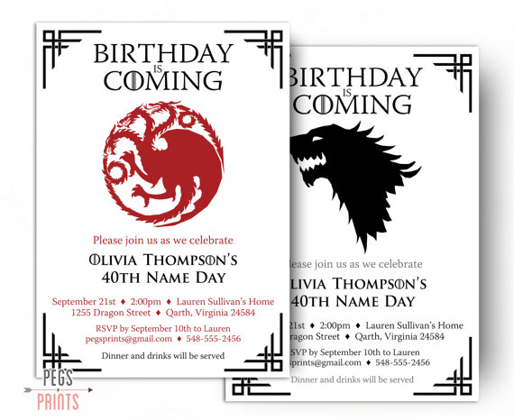 game of thrones birthday invitation ; il_570xN