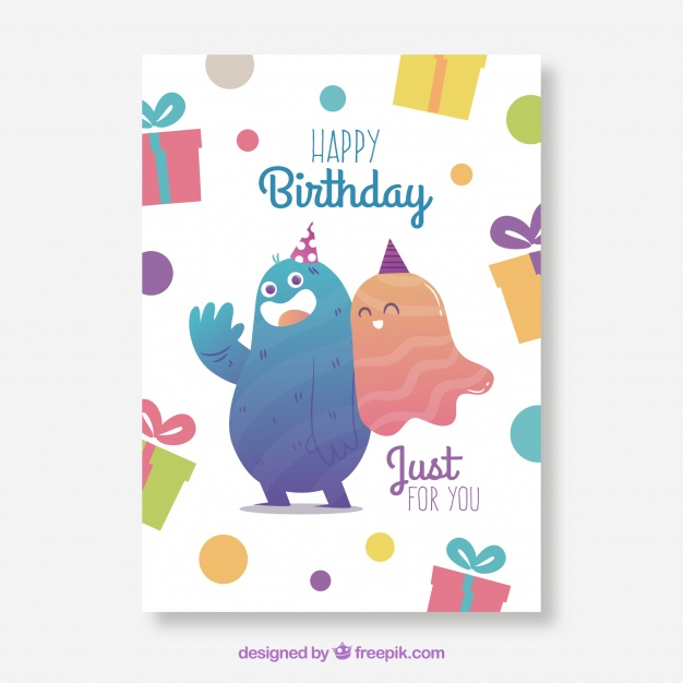 ghost birthday card ; birthday-card-template-with-ghost-and-monster_23-2147768666