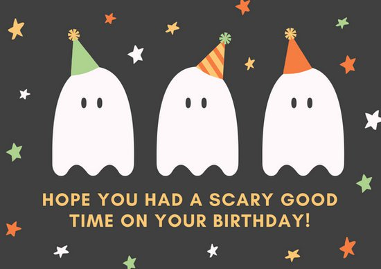 ghost birthday card ; canva-ghosts-party-hat-birthday-card-MAB6pF-7kVE