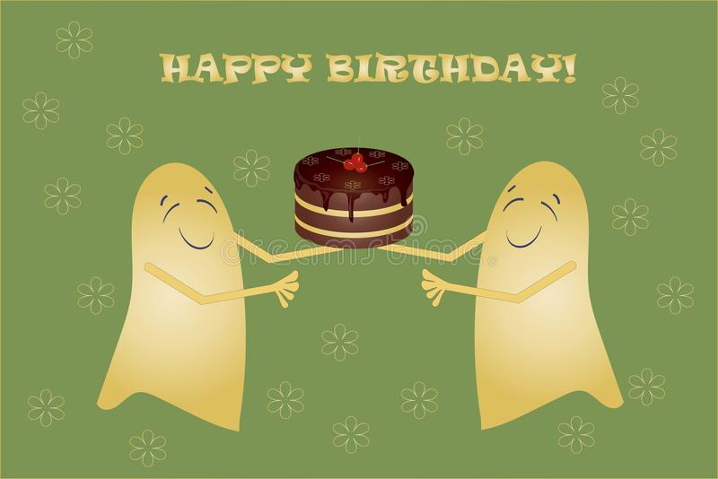 ghost birthday card ; greeting-card-happy-birthday-banner-two-cute-yellow-smiling-ghosts-holding-chocolate-cake-cherries-vector-68078496